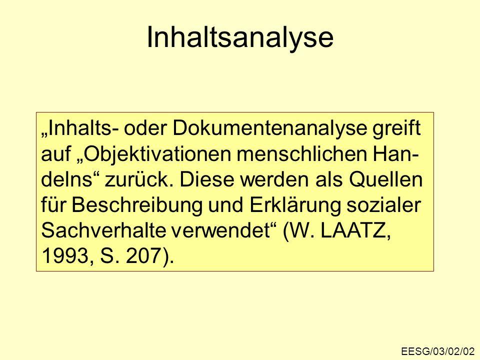 "Inhaltsanalyse ""Inhalts- oder Dokumentenanalyse greift"
