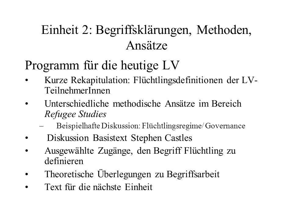 Einheit 2: Begriffsklärungen, Methoden, Ansätze