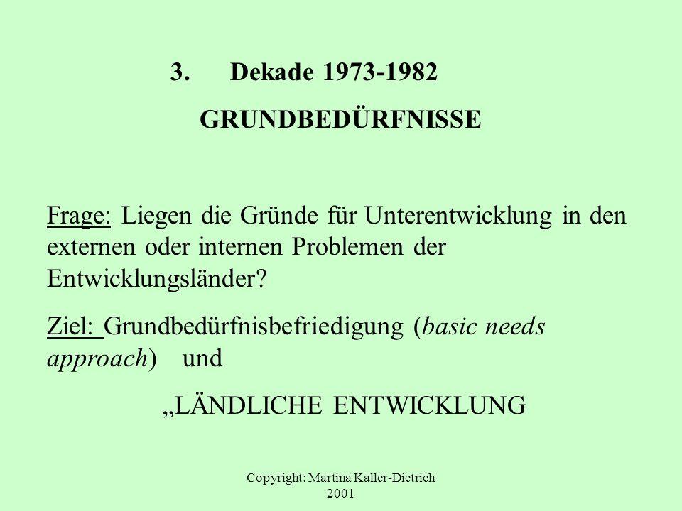 3. Dekade 1973-1982 GRUNDBEDÜRFNISSE