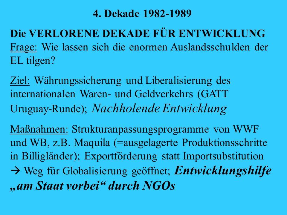 4. Dekade 1982-1989 Die VERLORENE DEKADE FÜR ENTWICKLUNG Frage: Wie lassen sich die enormen Auslandsschulden der EL tilgen