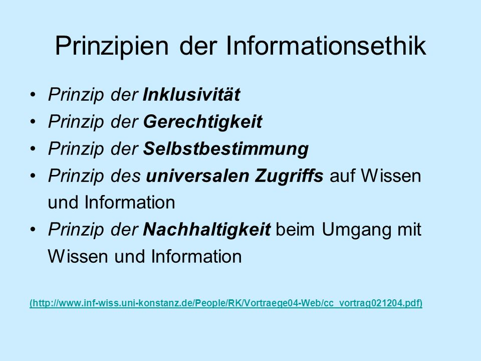 Prinzipien der Informationsethik