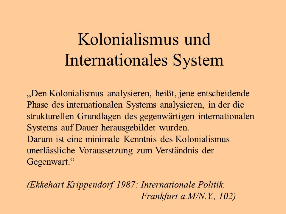 Kolonialismus und Internationales System
