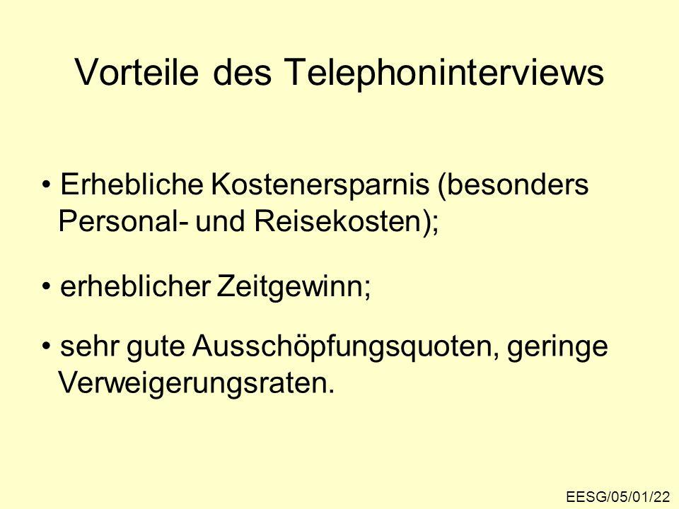 Vorteile des Telephoninterviews