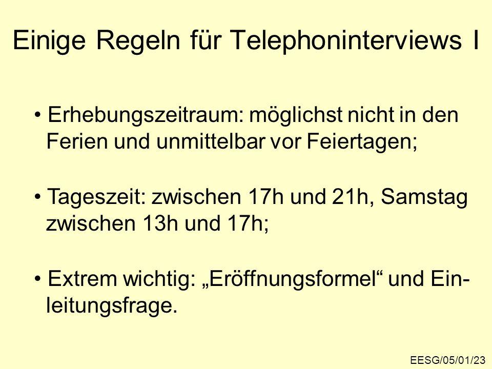 Einige Regeln für Telephoninterviews I