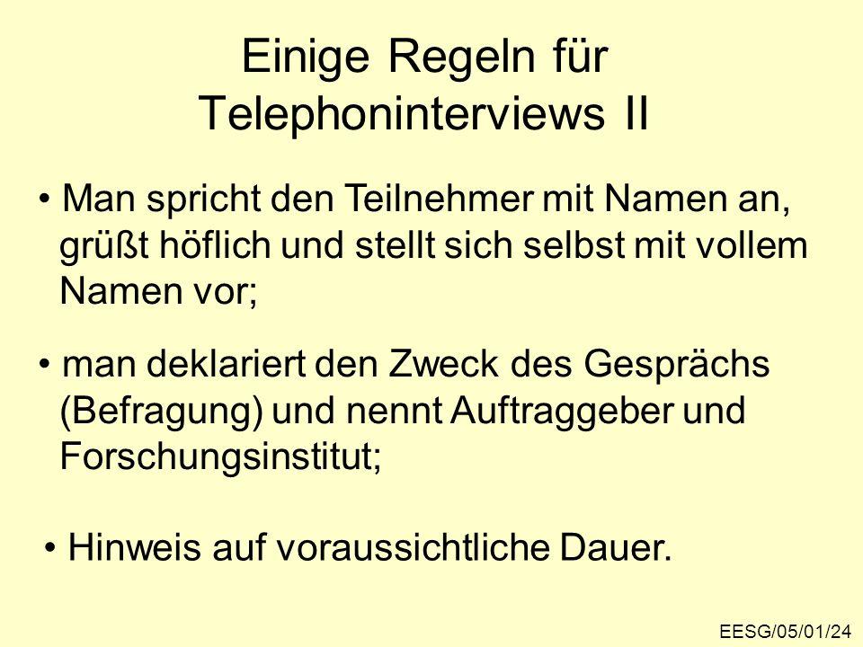 Einige Regeln für Telephoninterviews II