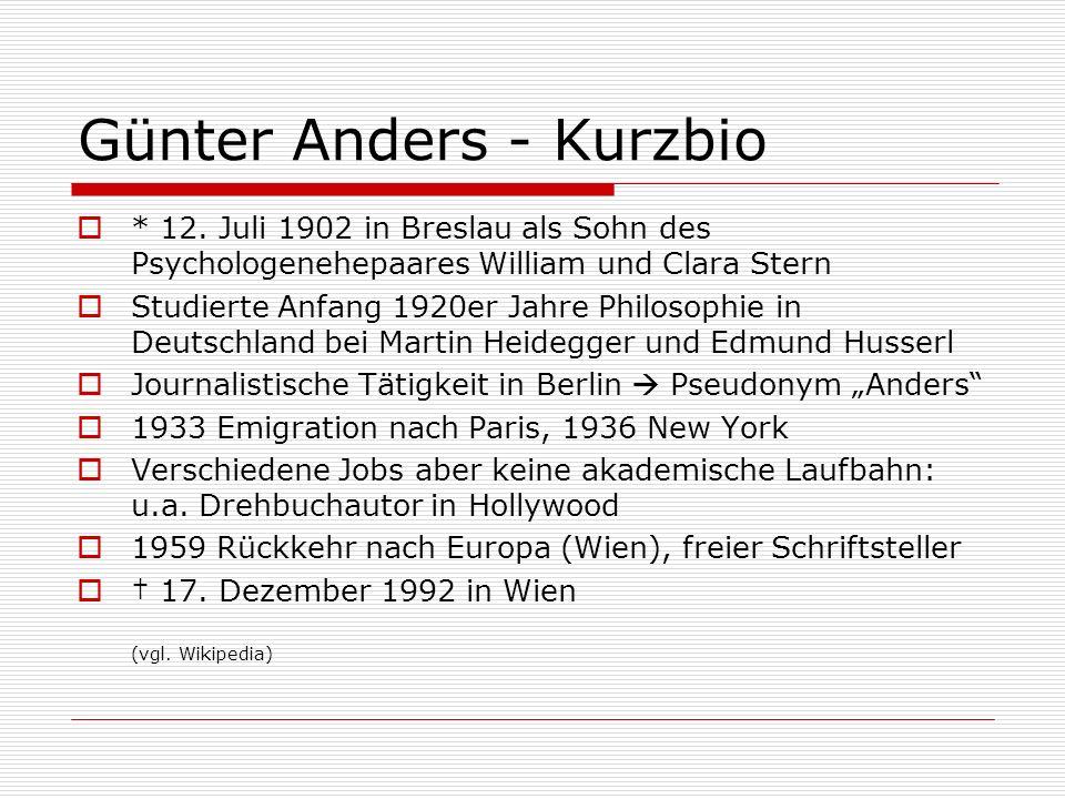 Günter Anders - Kurzbio