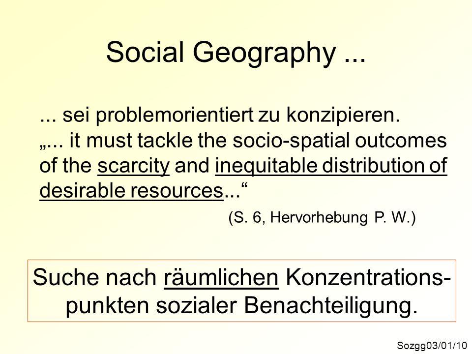 Social Geography ... Suche nach räumlichen Konzentrations-
