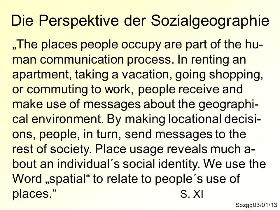 Die Perspektive der Sozialgeographie
