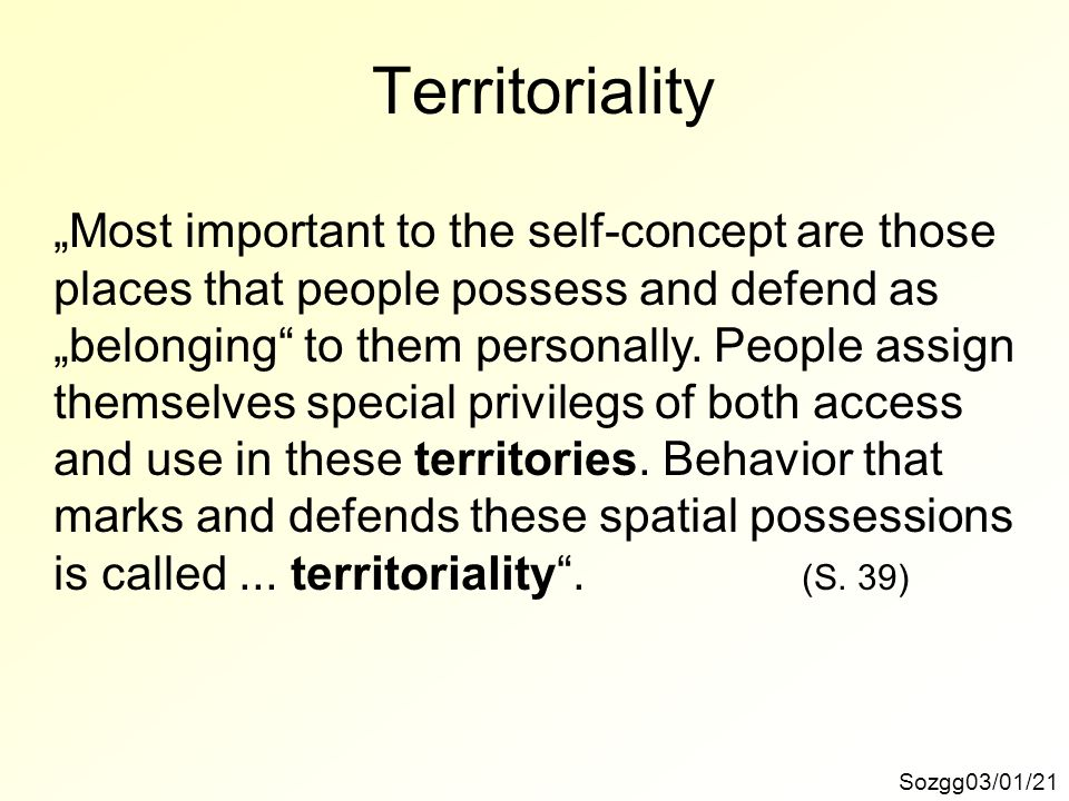 "Territoriality ""Most important to the self-concept are those"