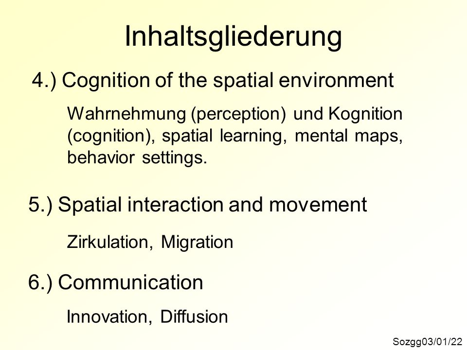 Inhaltsgliederung 4.) Cognition of the spatial environment