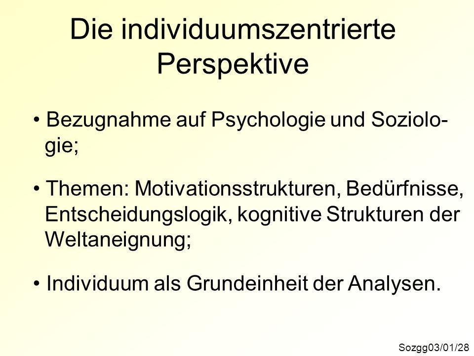 Die individuumszentrierte Perspektive
