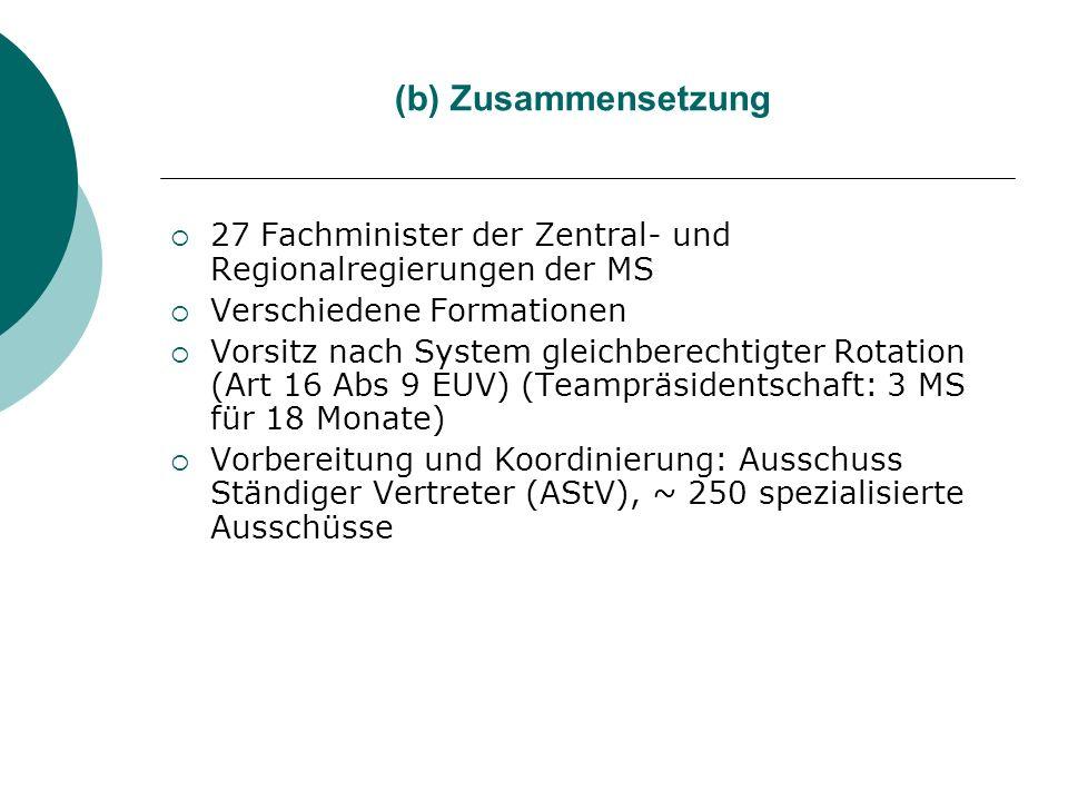 (b) Zusammensetzung 27 Fachminister der Zentral- und Regionalregierungen der MS. Verschiedene Formationen.