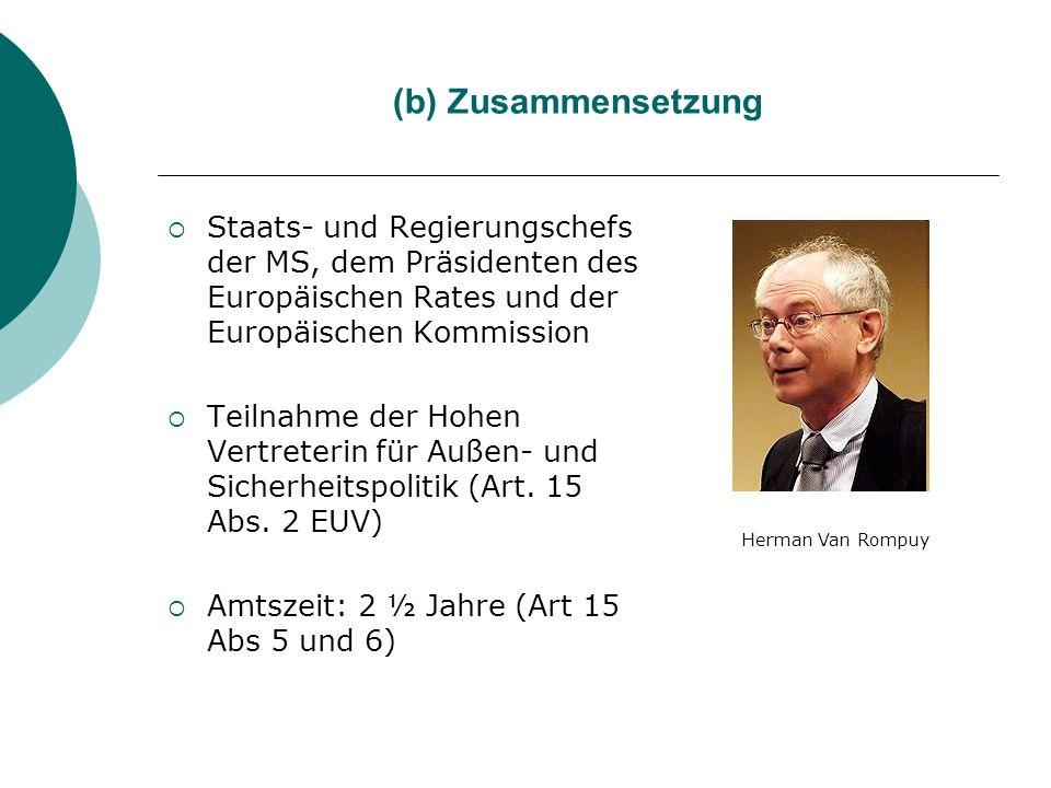 (b) Zusammensetzung Staats- und Regierungschefs der MS, dem Präsidenten des Europäischen Rates und der Europäischen Kommission.