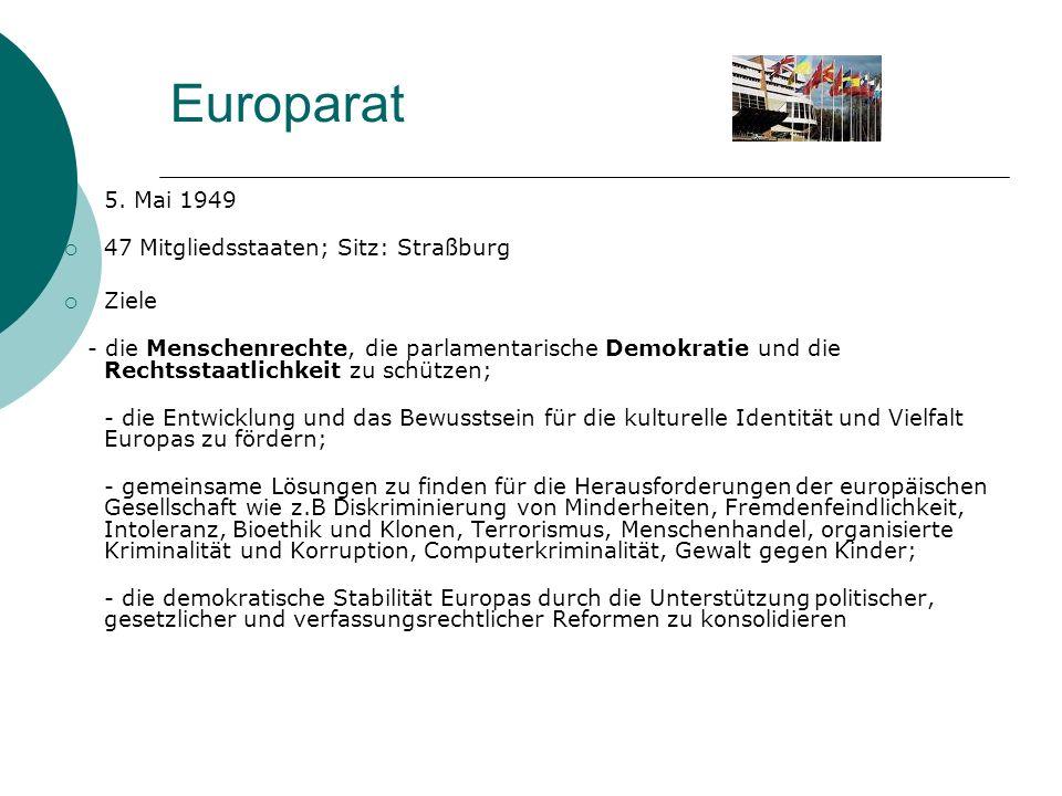 Europarat 5. Mai 1949 47 Mitgliedsstaaten; Sitz: Straßburg Ziele