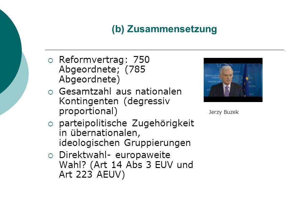 (b) Zusammensetzung Reformvertrag: 750 Abgeordnete; (785 Abgeordnete)