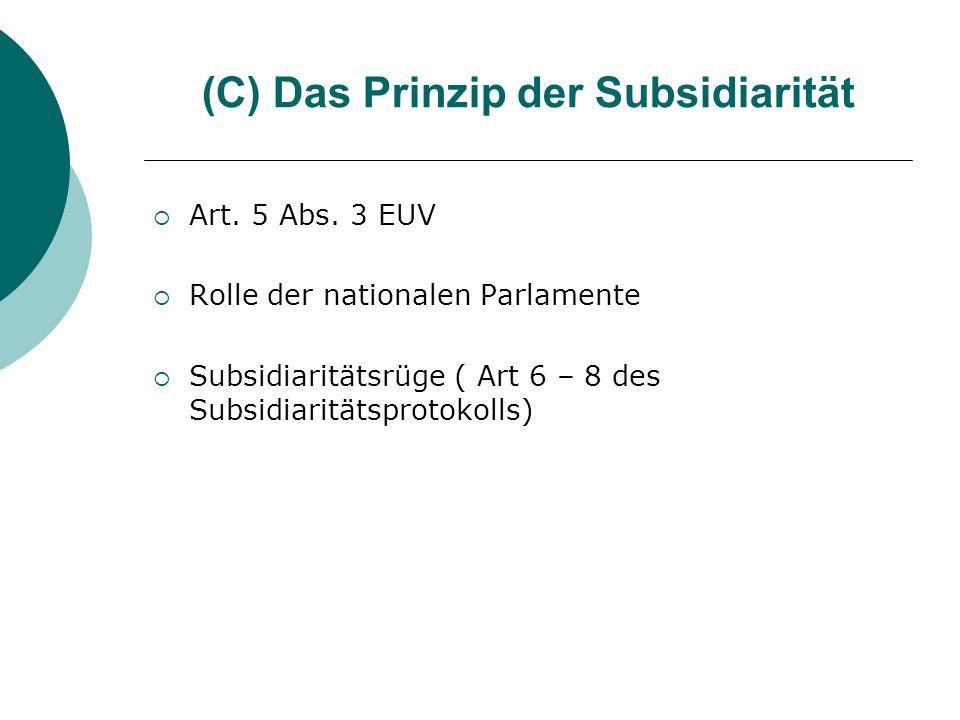 (C) Das Prinzip der Subsidiarität