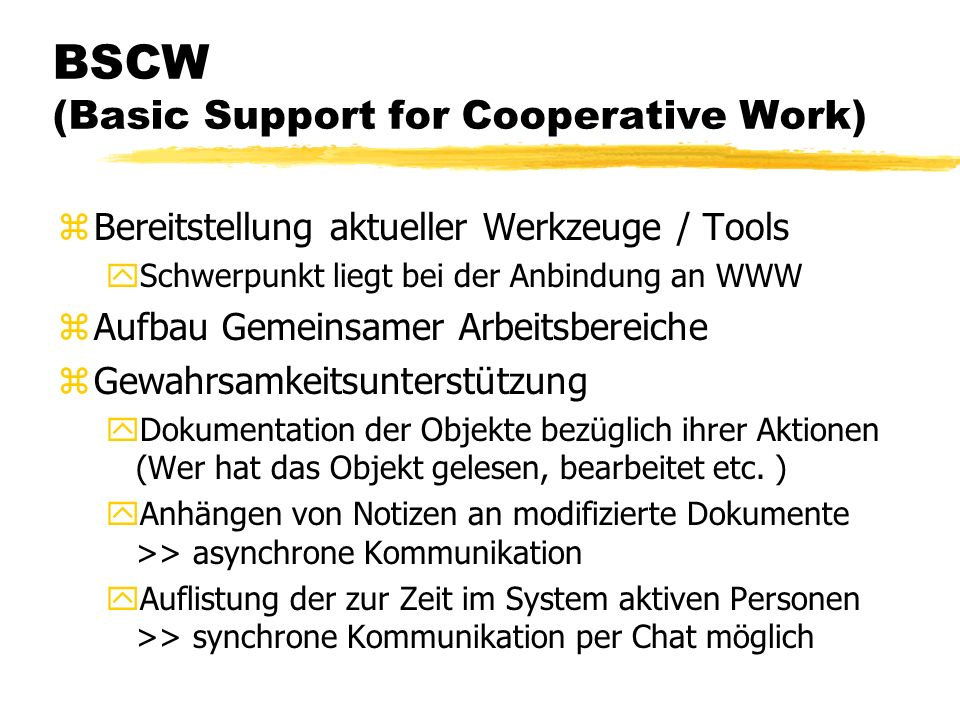 BSCW (Basic Support for Cooperative Work)