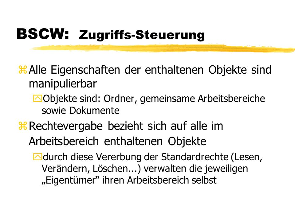 BSCW: Zugriffs-Steuerung