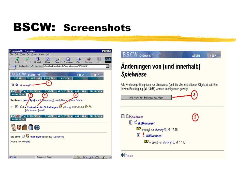 BSCW: Screenshots