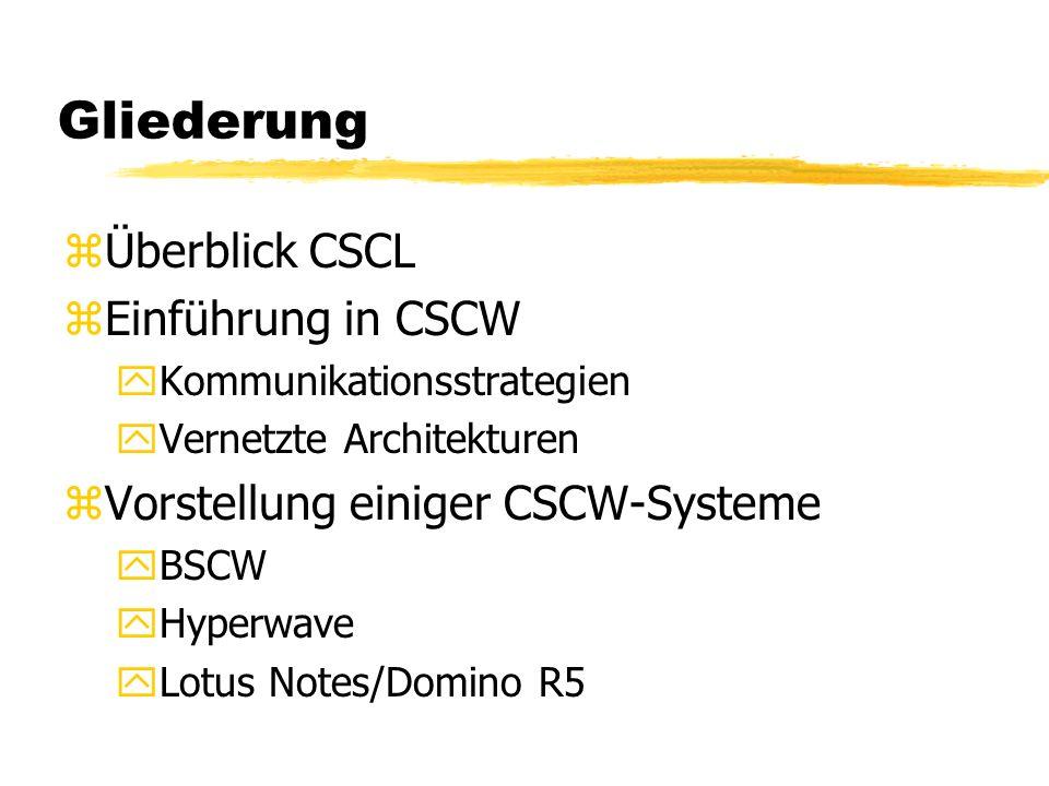 Gliederung Überblick CSCL Einführung in CSCW