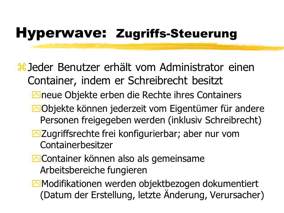 Hyperwave: Zugriffs-Steuerung