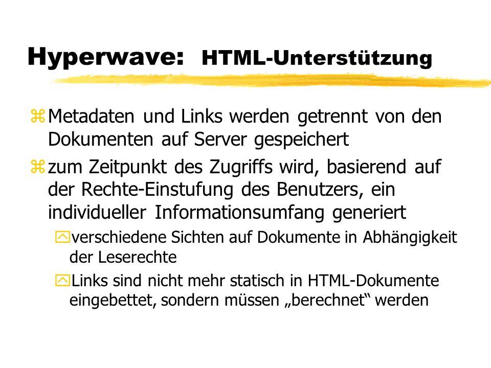 Hyperwave: HTML-Unterstützung