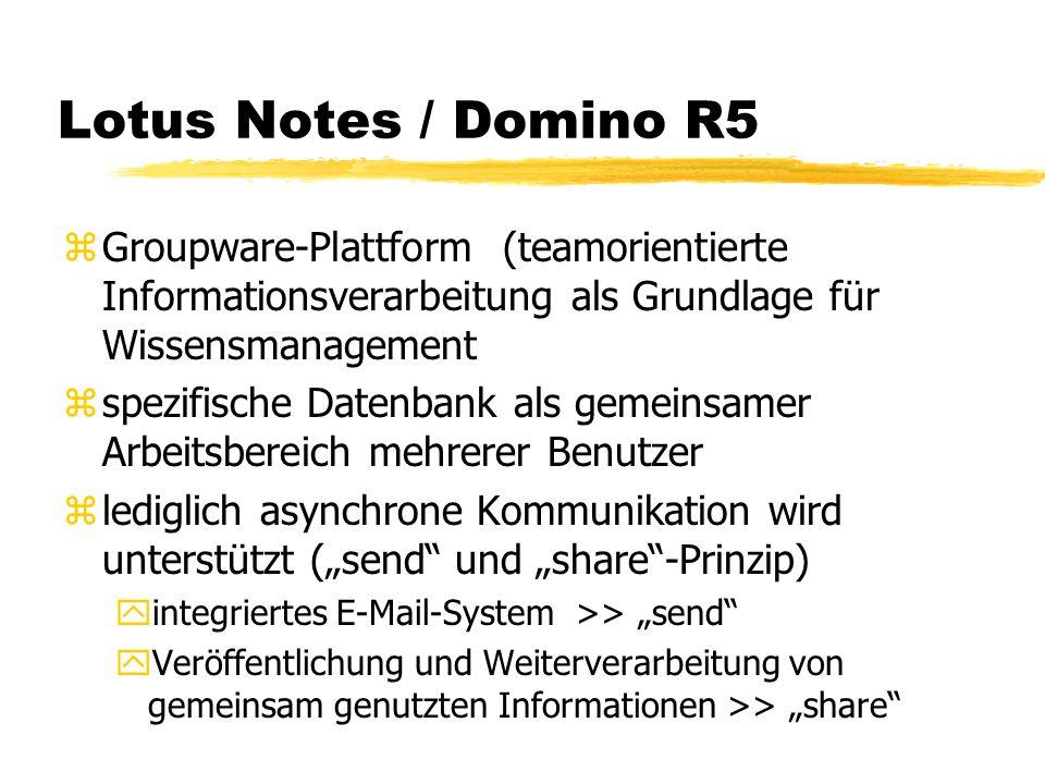 Lotus Notes / Domino R5 Groupware-Plattform (teamorientierte Informationsverarbeitung als Grundlage für Wissensmanagement.