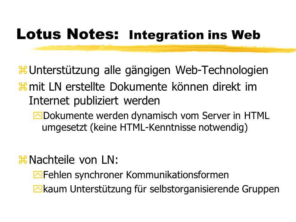 Lotus Notes: Integration ins Web