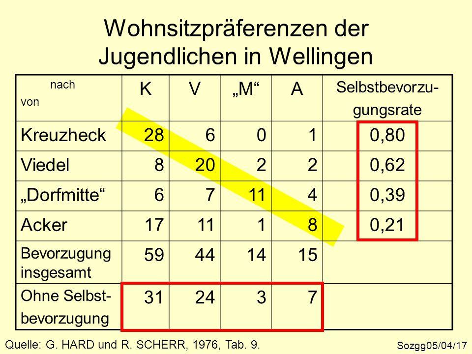 Wohnsitzpräferenzen der Jugendlichen in Wellingen