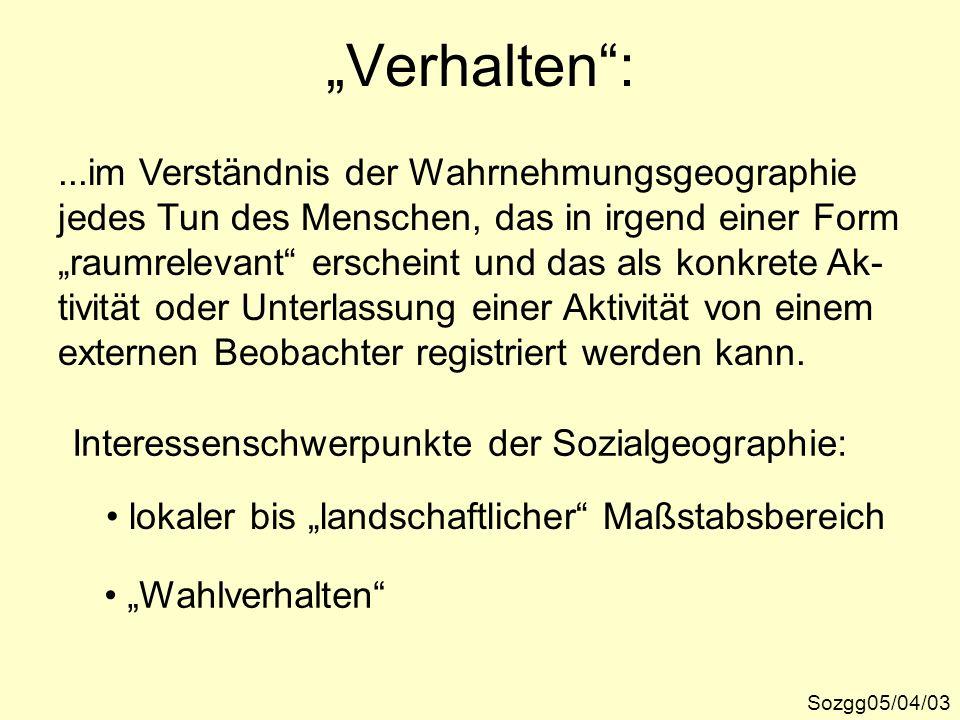 """""""Verhalten : ...im Verständnis der Wahrnehmungsgeographie"""