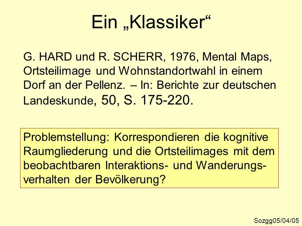 """Ein """"Klassiker G. HARD und R. SCHERR, 1976, Mental Maps,"""