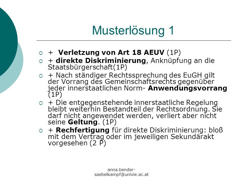 Musterlösung 1 + Verletzung von Art 18 AEUV (1P)
