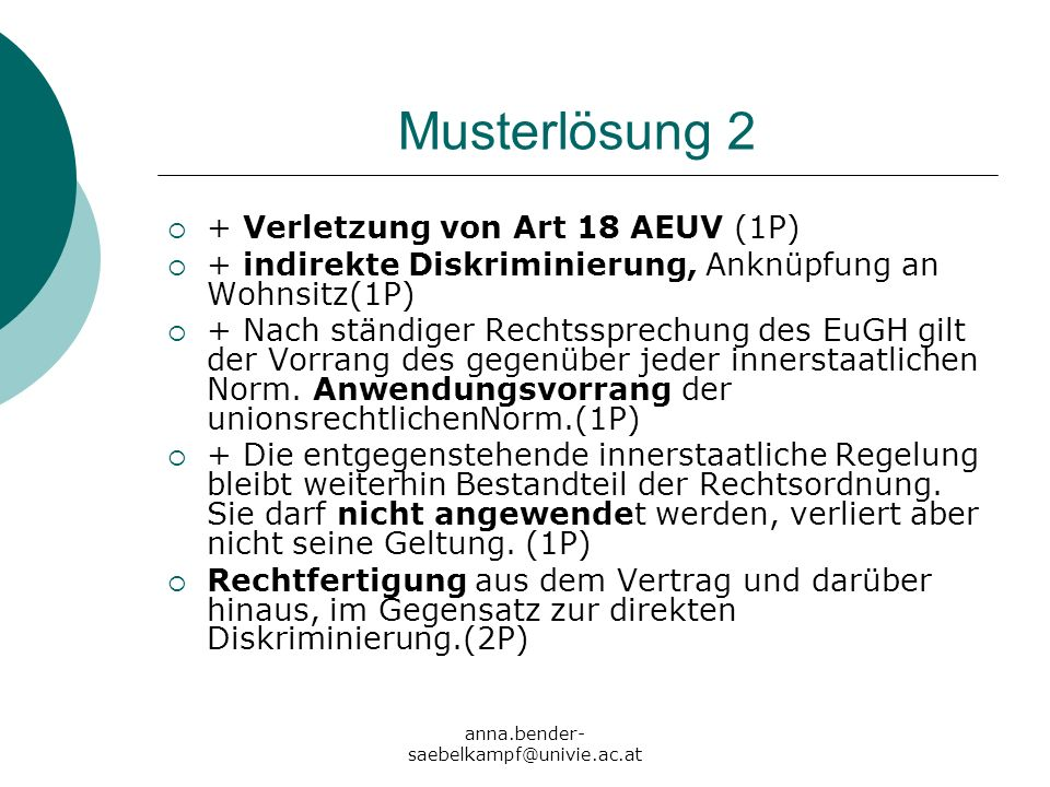 Musterlösung 2 + Verletzung von Art 18 AEUV (1P)