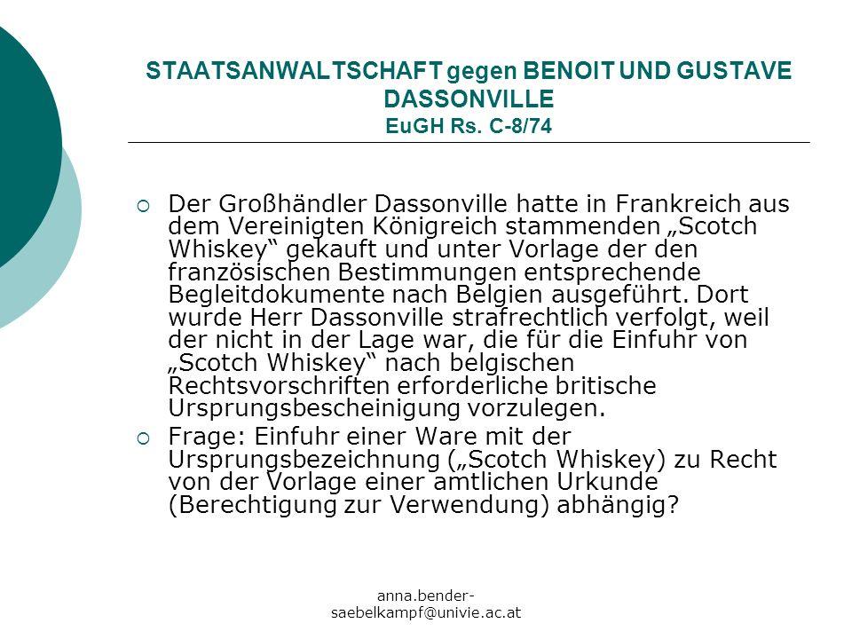 STAATSANWALTSCHAFT gegen BENOIT UND GUSTAVE DASSONVILLE EuGH Rs. C-8/74