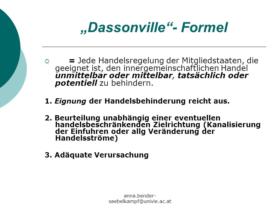 """""""Dassonville - Formel"""
