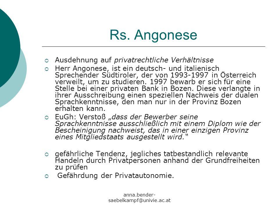 Rs. Angonese Ausdehnung auf privatrechtliche Verhältnisse