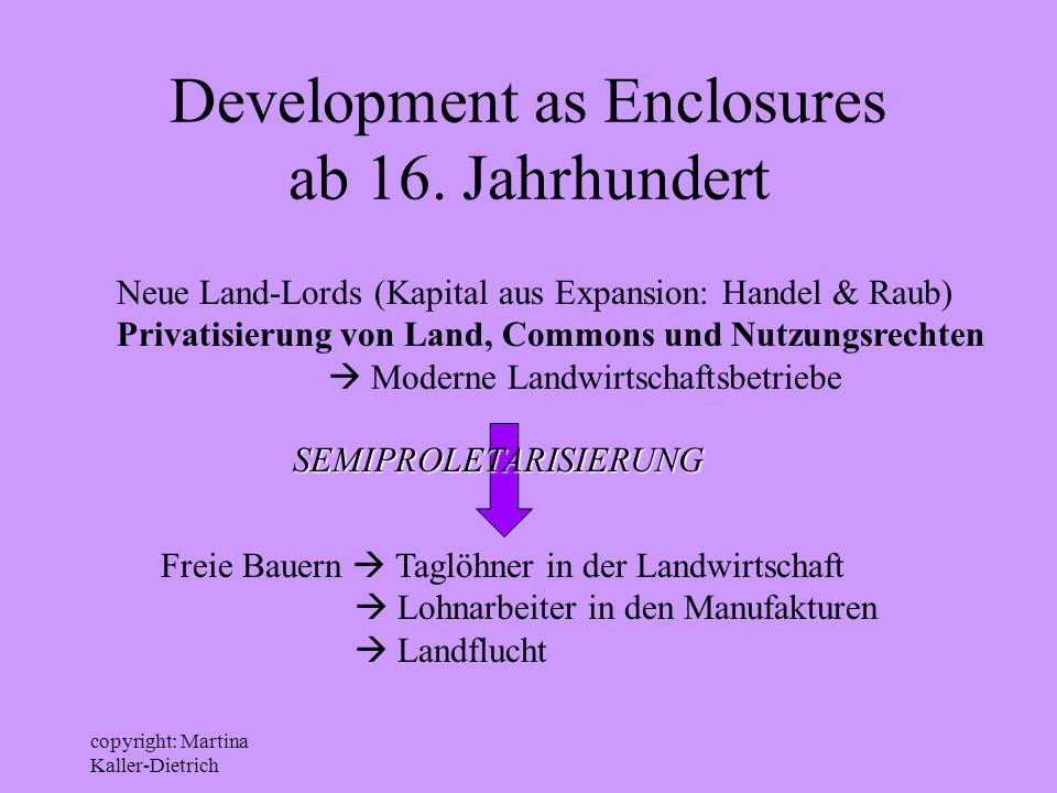 Development as Enclosures ab 16. Jahrhundert