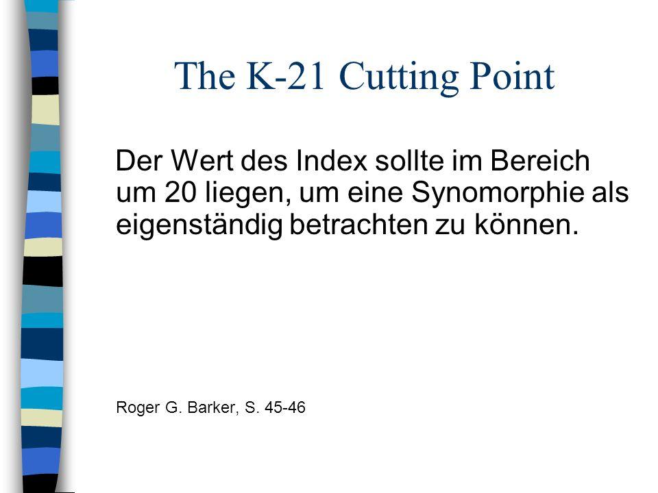 The K-21 Cutting Point Der Wert des Index sollte im Bereich um 20 liegen, um eine Synomorphie als eigenständig betrachten zu können.