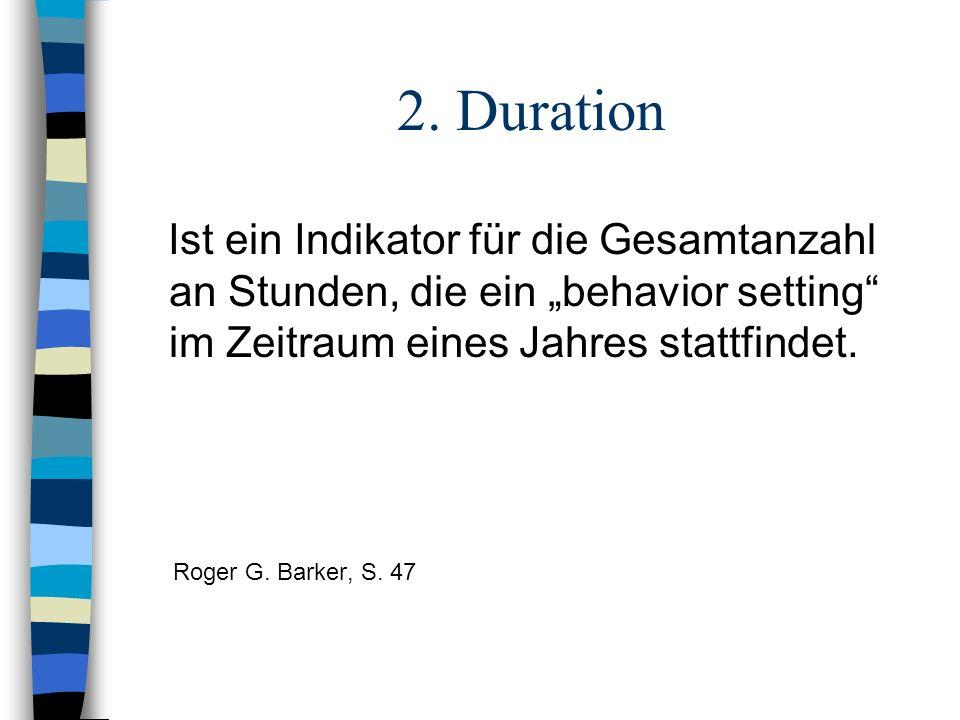 """2. Duration Ist ein Indikator für die Gesamtanzahl an Stunden, die ein """"behavior setting im Zeitraum eines Jahres stattfindet."""