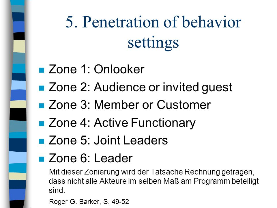 5. Penetration of behavior settings