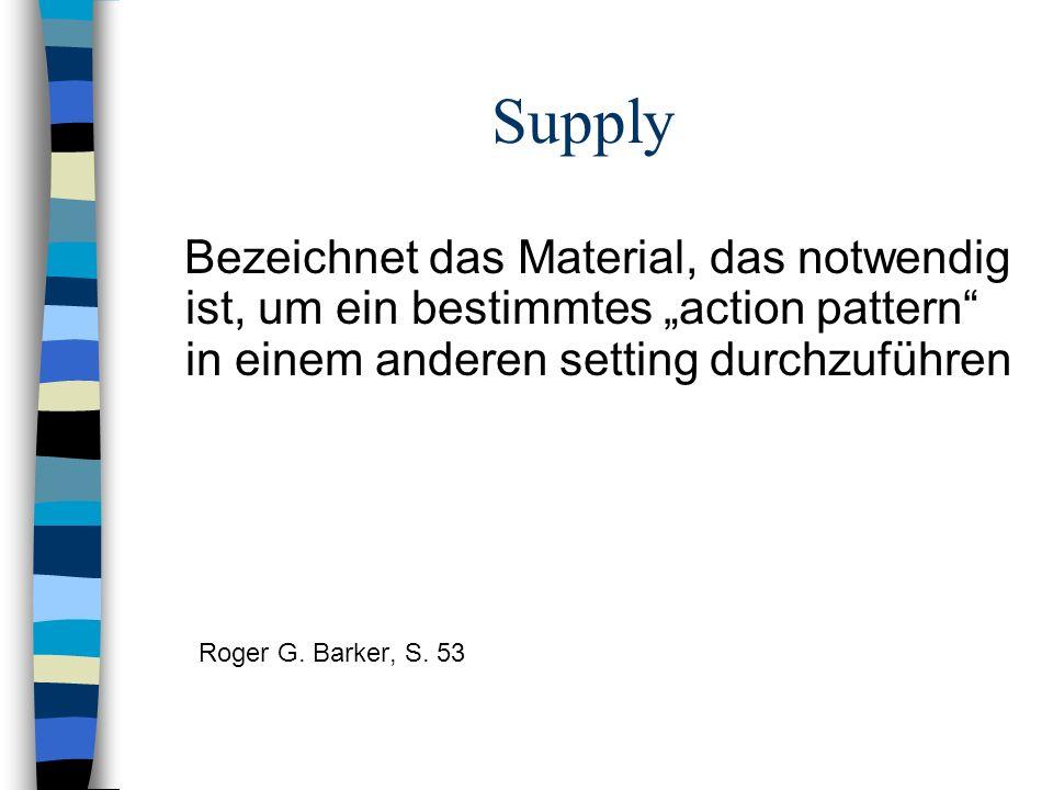 """Supply Bezeichnet das Material, das notwendig ist, um ein bestimmtes """"action pattern in einem anderen setting durchzuführen."""