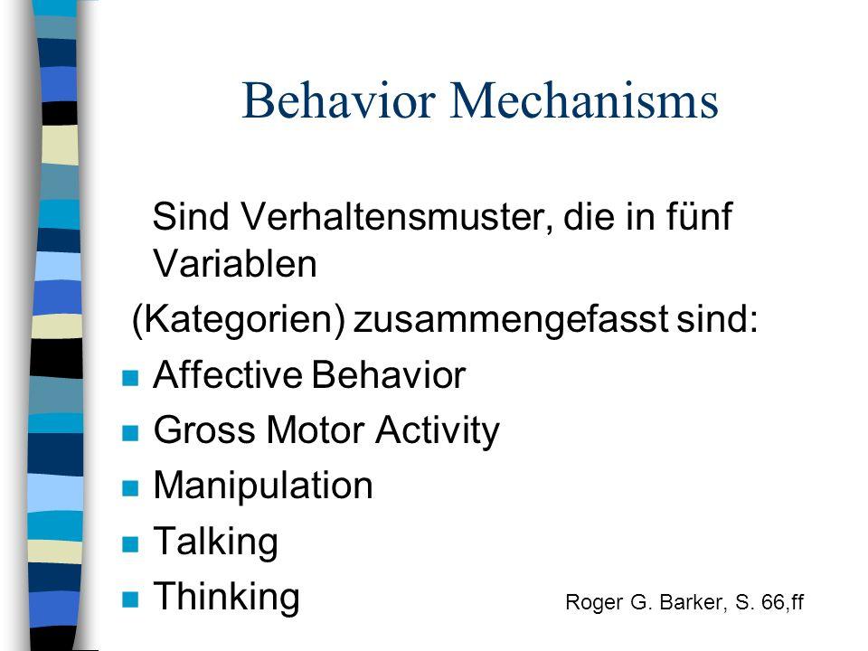 Behavior Mechanisms Sind Verhaltensmuster, die in fünf Variablen