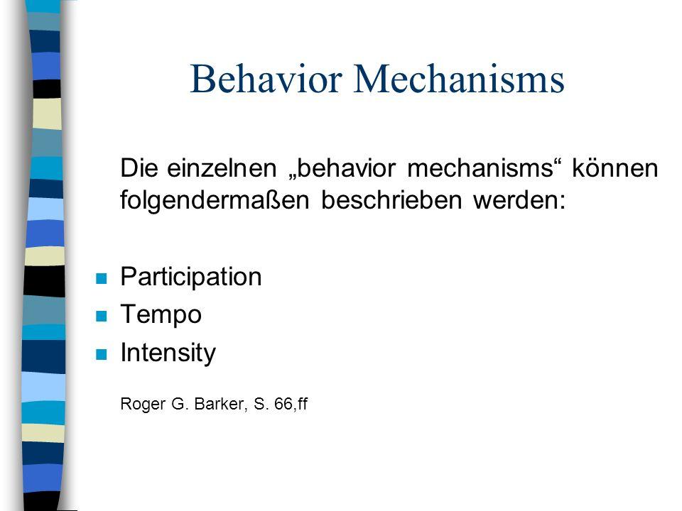 """Behavior Mechanisms Die einzelnen """"behavior mechanisms können folgendermaßen beschrieben werden: Participation."""