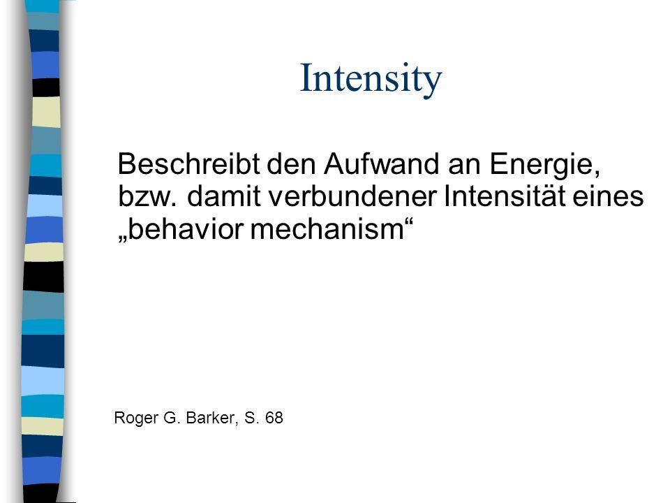 """Intensity Beschreibt den Aufwand an Energie, bzw. damit verbundener Intensität eines """"behavior mechanism"""