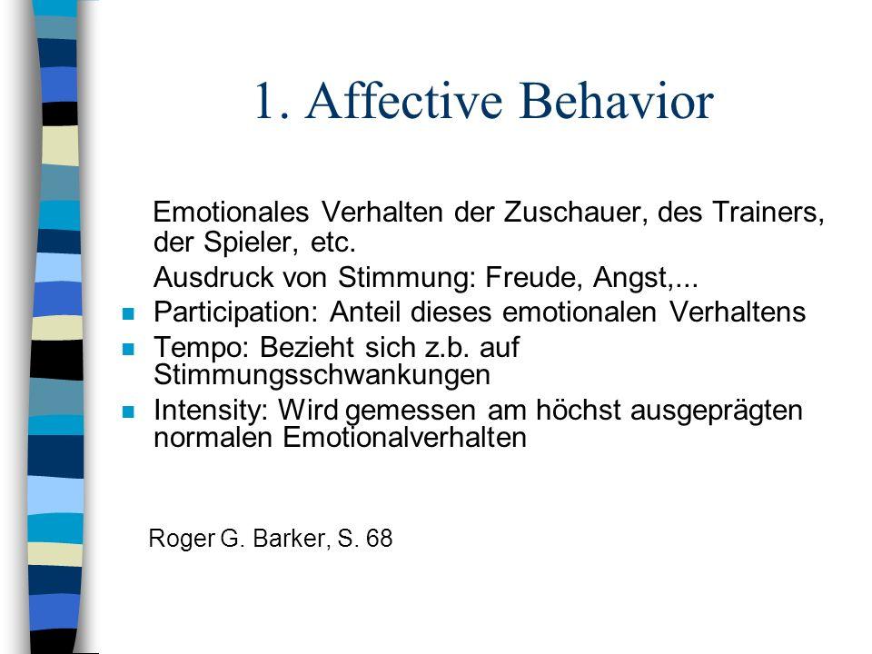 1. Affective Behavior Emotionales Verhalten der Zuschauer, des Trainers, der Spieler, etc. Ausdruck von Stimmung: Freude, Angst,...