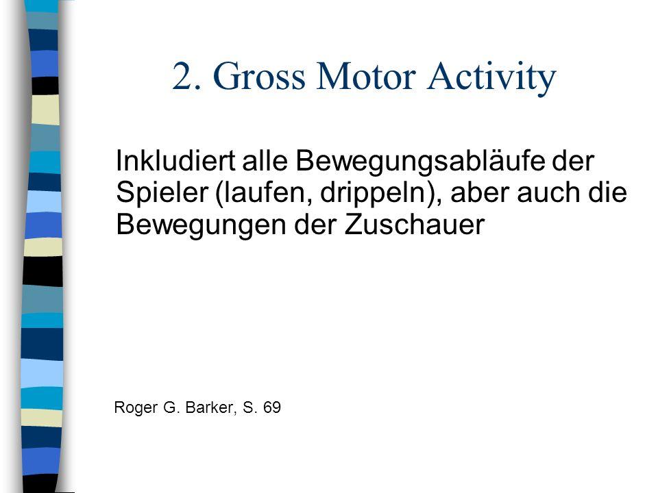 2. Gross Motor Activity Inkludiert alle Bewegungsabläufe der Spieler (laufen, drippeln), aber auch die Bewegungen der Zuschauer.