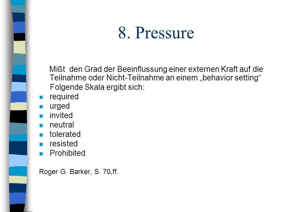 """8. Pressure Mißt den Grad der Beeinflussung einer externen Kraft auf die Teilnahme oder Nicht-Teilnahme an einem """"behavior setting"""