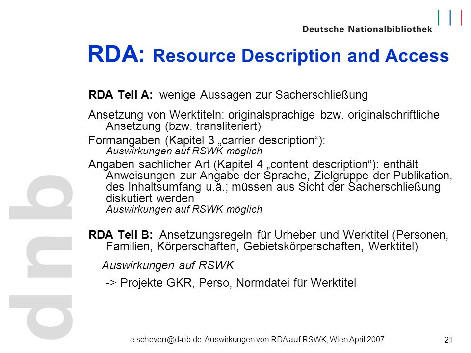 RDA: Resource Description and Access