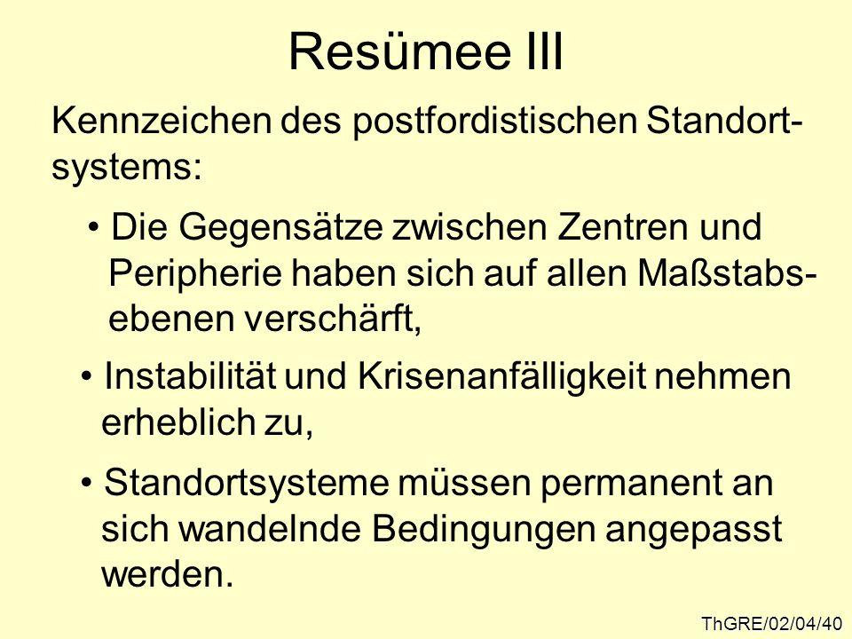Resümee III Kennzeichen des postfordistischen Standort- systems: