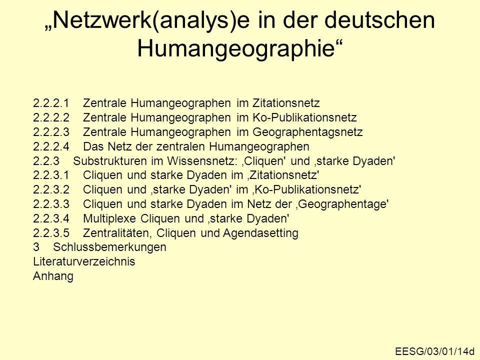 """""""Netzwerk(analys)e in der deutschen Humangeographie"""